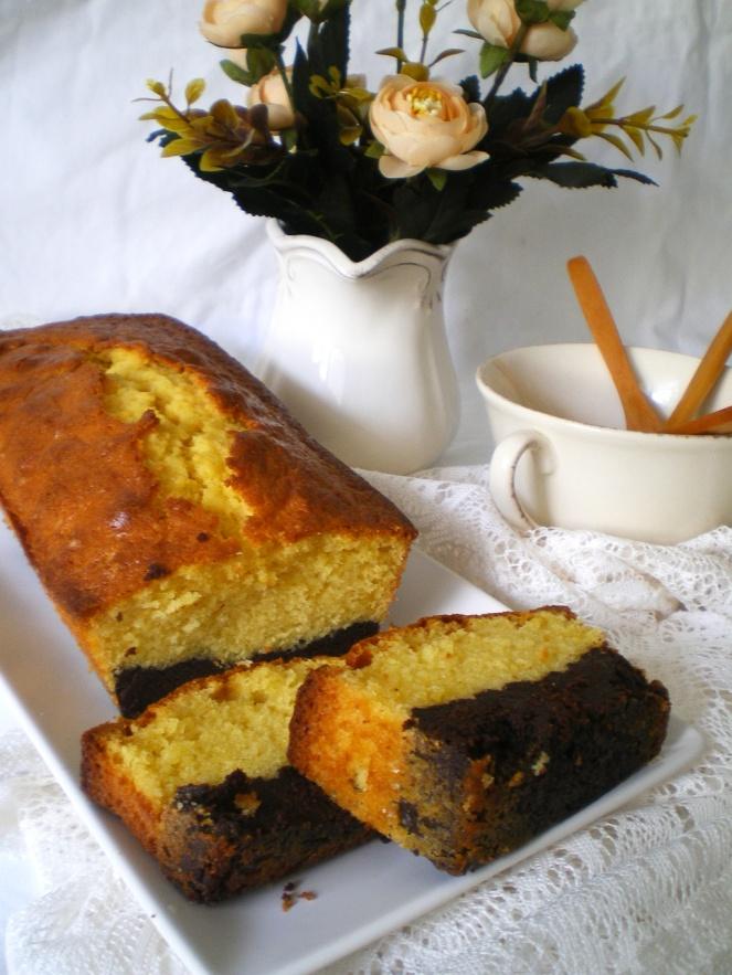 Bizcocho de naranja y brownie